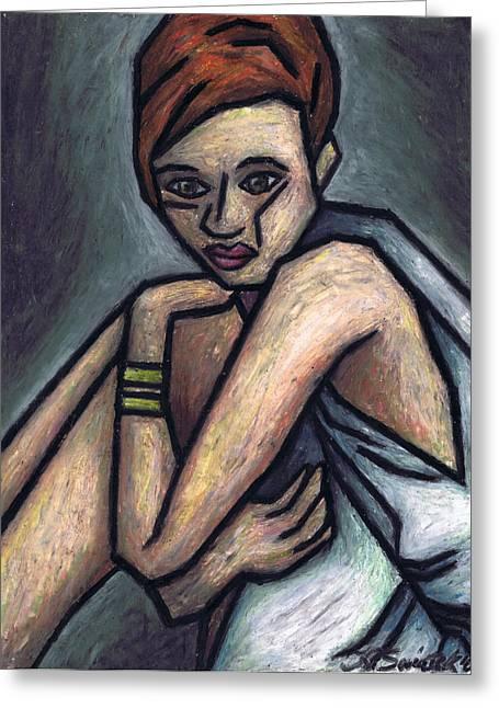Nostalgic Woman Greeting Card by Kamil Swiatek