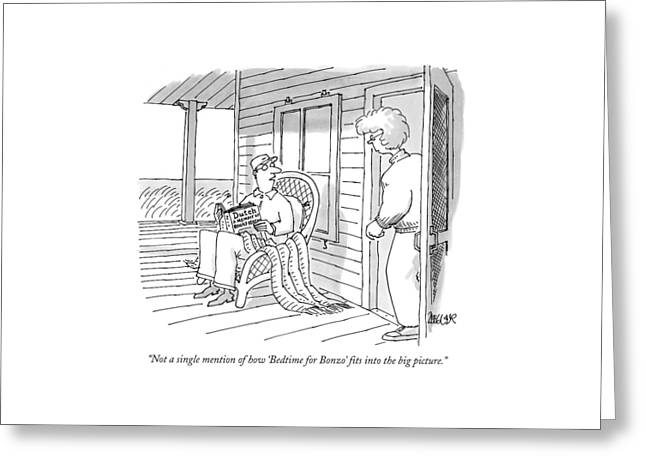 Not A Single Mention Of How 'bedtime For Bonzo' Greeting Card by Jack Ziegler