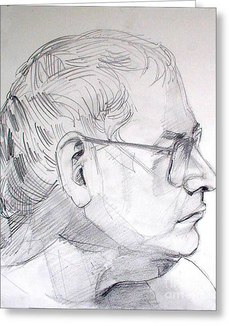 Graphite Portrait Life Drawing Sketch Not So Young Anymore Greeting Card