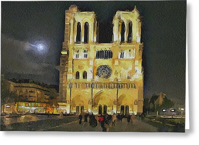Noter Dame De Paris At Night 2 Greeting Card