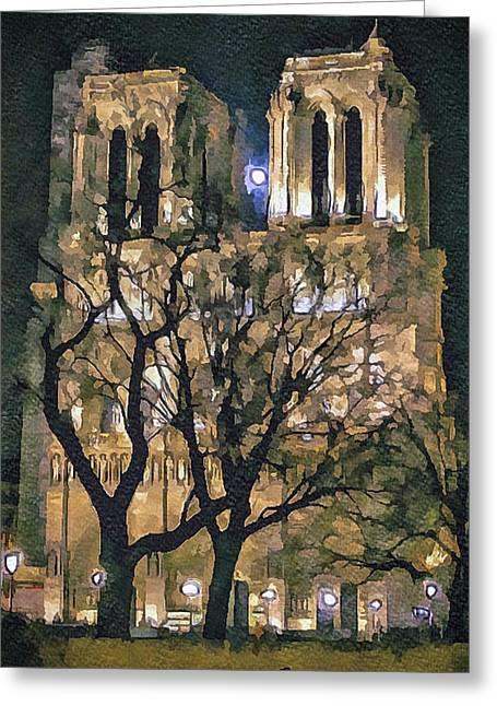 Noter Dame De Paris At Night Greeting Card