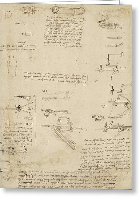 Notes About Perspective And Sketch Of Devices For Textile Machinery From Atlantic Codex Greeting Card