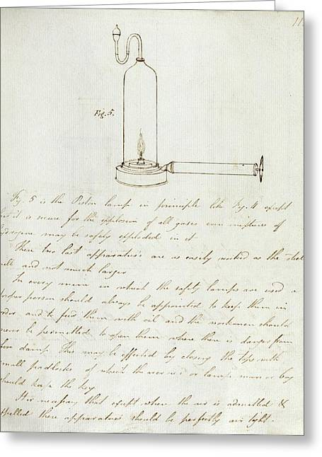 Notes On Davy Safety Lamp Greeting Card by Royal Institution Of Great Britain
