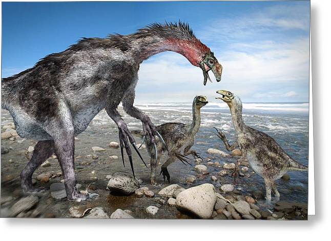 Nothronychus Dinosaur Family, Artwork Greeting Card by Science Photo Library
