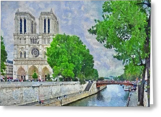 Notre Dame And The River Seine Greeting Card