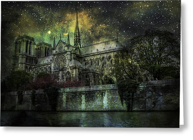 Notre Dame At Night Greeting Card
