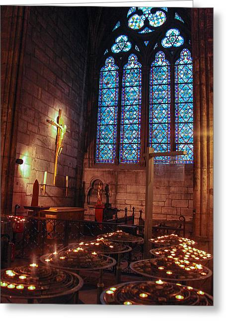 Notre Dame Candles Greeting Card by Ross Henton