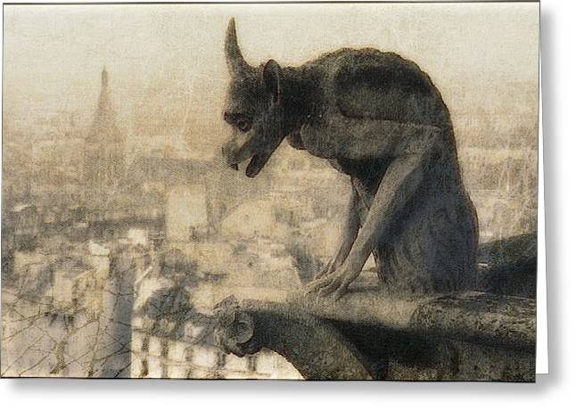 Notre Dame Cathedral Gargoyle Greeting Card