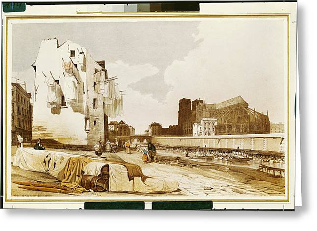 Notre Dame From The Quai St. Bernard Colour Litho Greeting Card