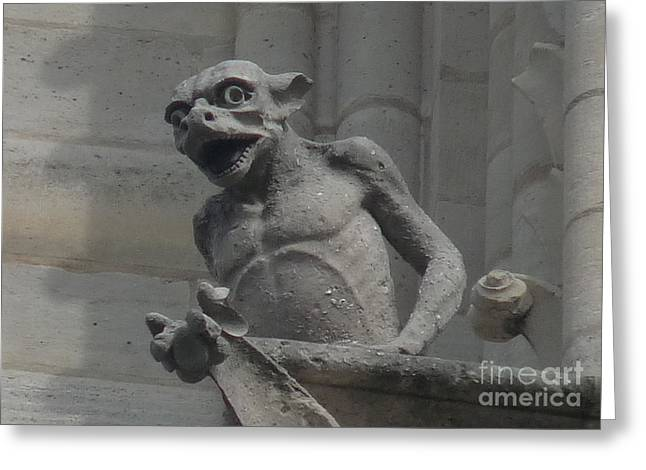 Greeting Card featuring the photograph Notre Dame Gargoyle by Deborah Smolinske