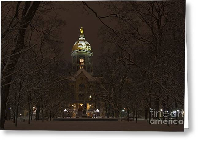 Notre Dame Golden Dome Snow Greeting Card by John Stephens