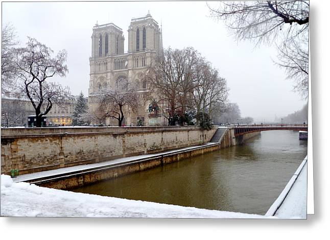 Notre Dame In Winter Greeting Card