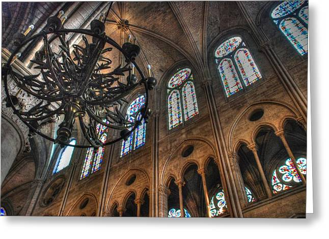 Notre Dame Interior Greeting Card by Jennifer Ancker
