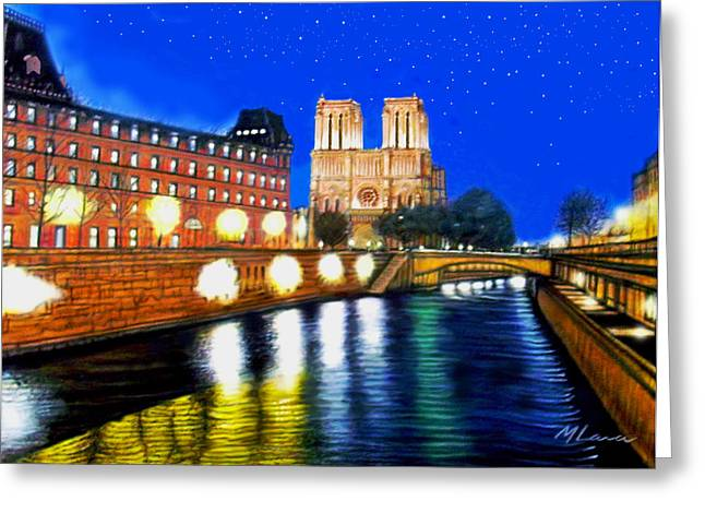 Notre Dame Paris  And The Sienne River Greeting Card by Marcos Lara