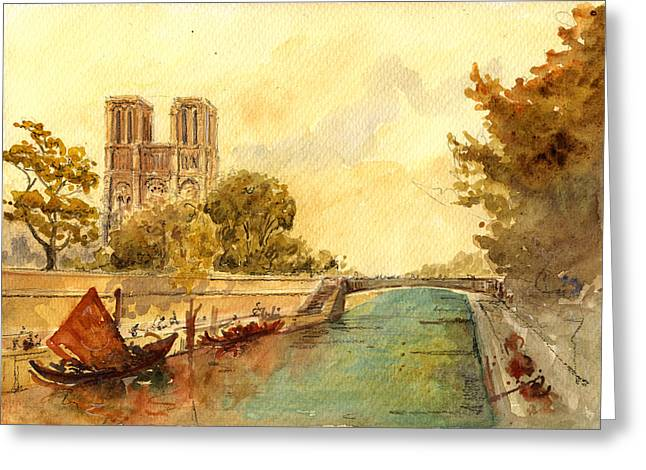 Notre Dame Paris. Greeting Card by Juan  Bosco