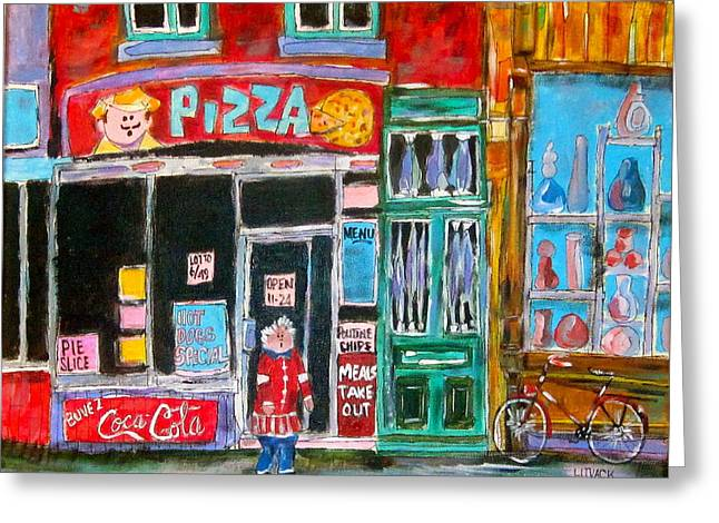 Notre Dame Pizza Greeting Card by Michael Litvack