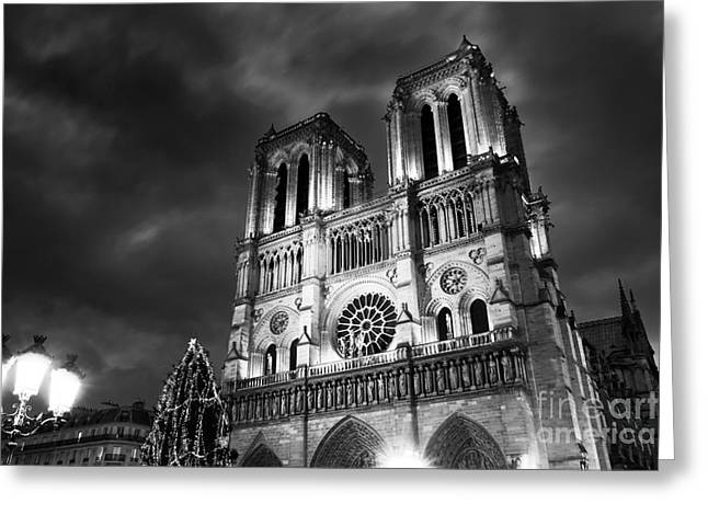 Notre Dame Portrait Greeting Card by John Rizzuto