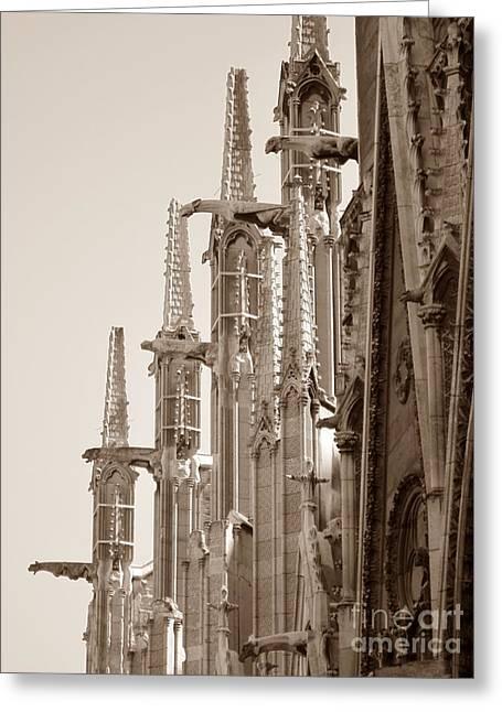 Notre Dame Sentries Sepia Greeting Card