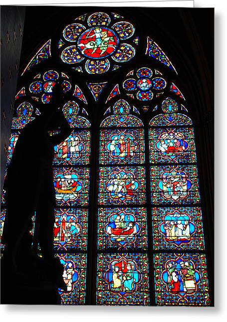Notre Dame Stained Glass Silhouette Greeting Card