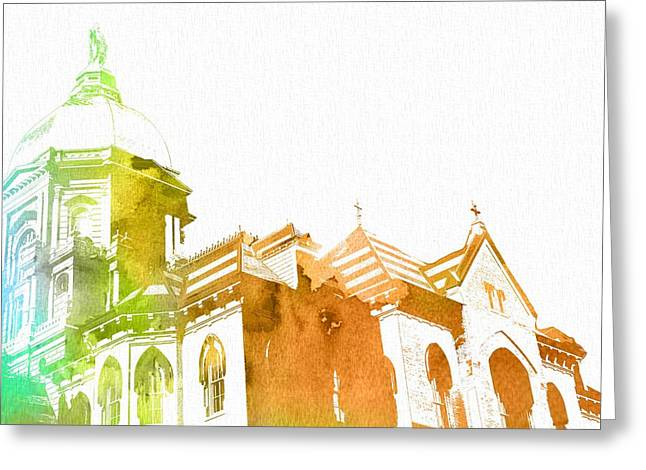 Notre Dame Watercolor Greeting Card by Dan Sproul