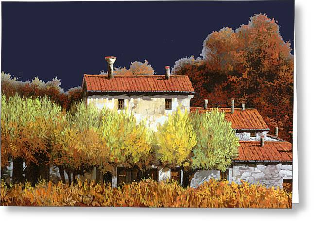 Vineyards Paintings Greeting Cards - Notte In Campagna Greeting Card by Guido Borelli