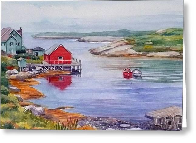 Nova Scotia Harbor Greeting Card by Janet  Zeh
