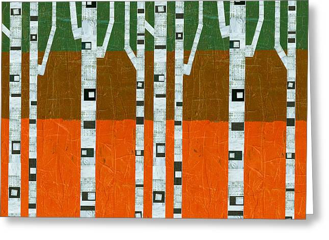 November Birches Greeting Card by Michelle Calkins