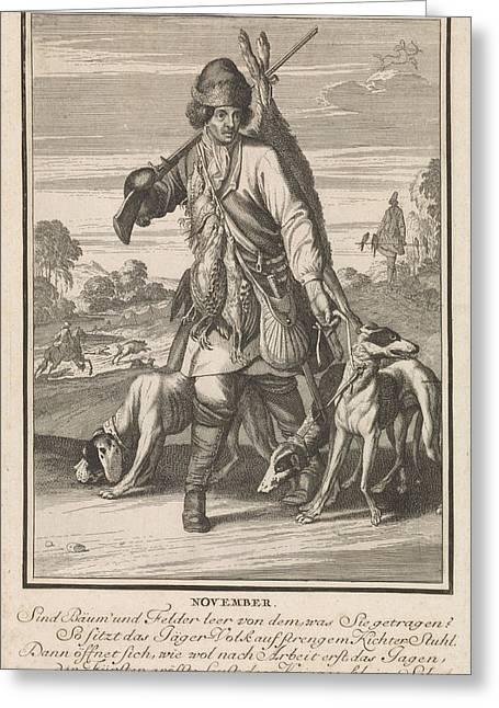 November, Caspar Luyken, 1698 - 1702, Print Maker Caspar Greeting Card by Caspar Luyken