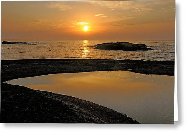 November Sunrise II - Lake Superior Greeting Card by Sandra Updyke