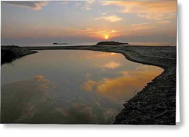 November Sunrise-lake Superior Greeting Card by Sandra Updyke