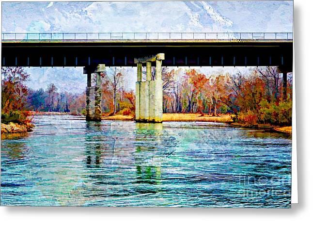 November Under The Brige - Current River Near Van Beauren Mo - Digital Paint 2 Greeting Card by Debbie Portwood