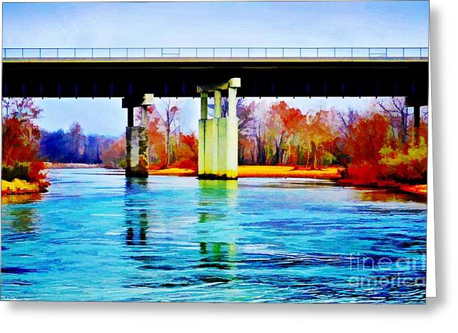 November Under The Brige - Current River Near Van Beauren Mo - Digital Paint 4 Greeting Card by Debbie Portwood
