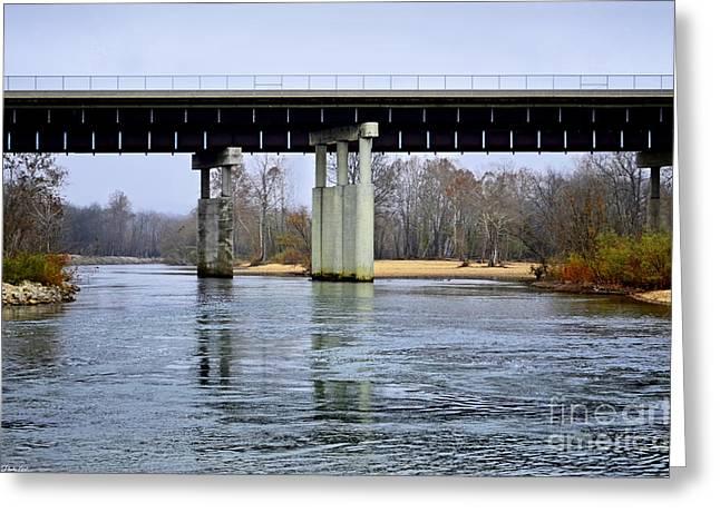 November Under The Brige - Current River Near Van Beauren Mo Greeting Card by Debbie Portwood