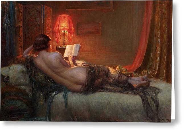 Greeting Card featuring the painting Nu De Dos A La Peau Dours  by Delphin Enjolras