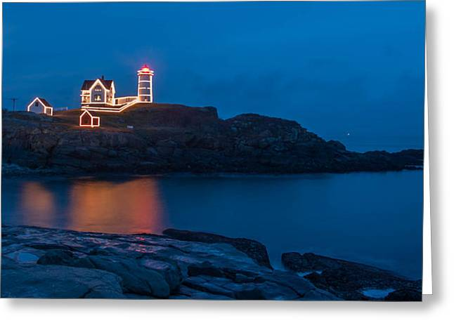 Nubble At Night Greeting Card by Guy Whiteley