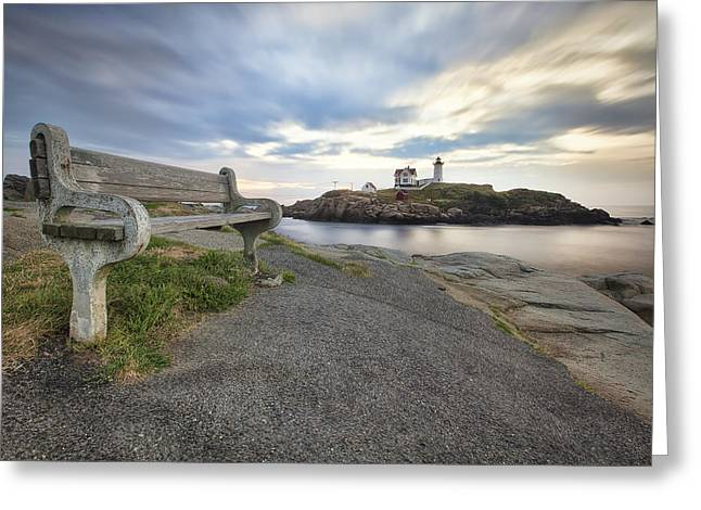 Nubble Bench Greeting Card by Eric Gendron