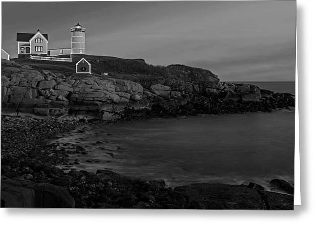 Nubble Light At Sunset Bw Greeting Card