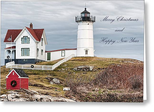 Greeting Card featuring the photograph Nubble Light Christmas Card by Richard Bean
