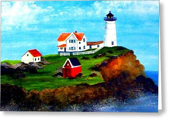 Nubble Light Greeting Card by David Richardson