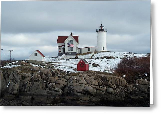 Greeting Card featuring the photograph Nubble Light In December by Barbara McDevitt