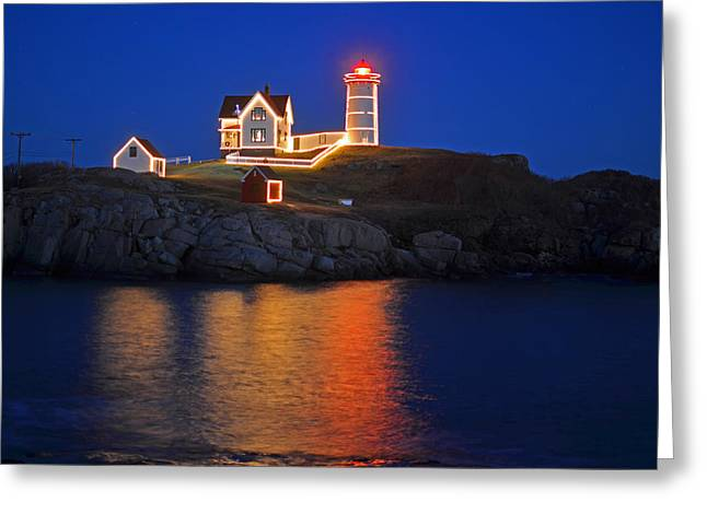 Nubble Light In York Me Cape Neddick Christmas Blue Sky Greeting Card by Toby McGuire