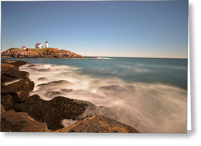 Nubble Light In York Me Cape Neddick Greeting Card by Toby McGuire