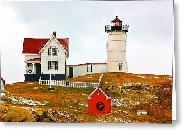 Greeting Card featuring the photograph Nubble Lighthouse by Amazing Jules