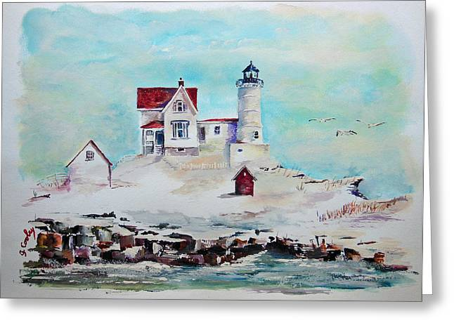 Nubble Lighthouse Greeting Card by Gerald Cooley