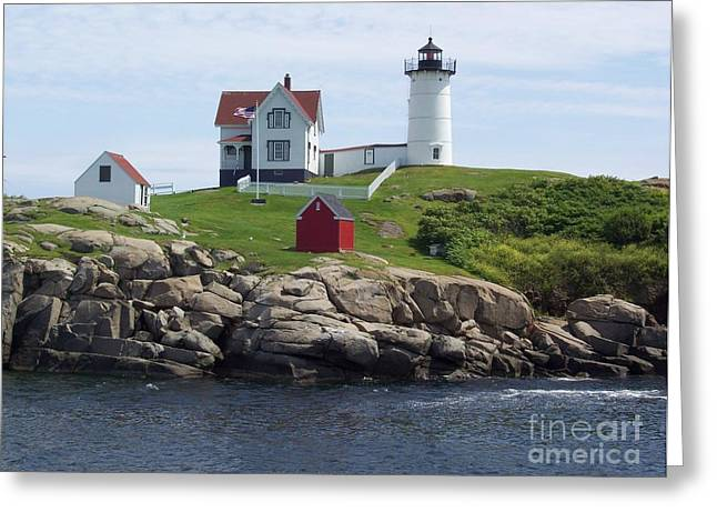 Stella Sherman Greeting Cards - Nubble Lighthouse in Maine Greeting Card by Stella Sherman
