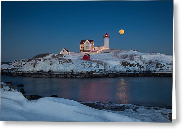 Nubble Lighthouse In Winter Greeting Card by Betty Wiley