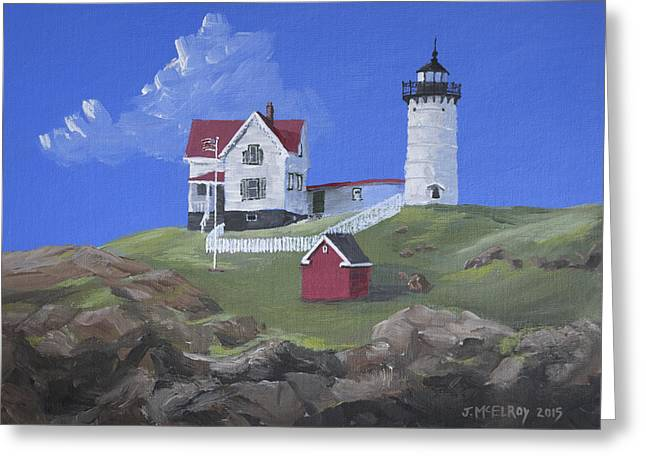 Nubble Lighthouse Greeting Card by Jerry McElroy