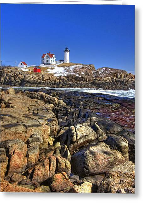 Nubble Lighthouse Greeting Card by Joann Vitali