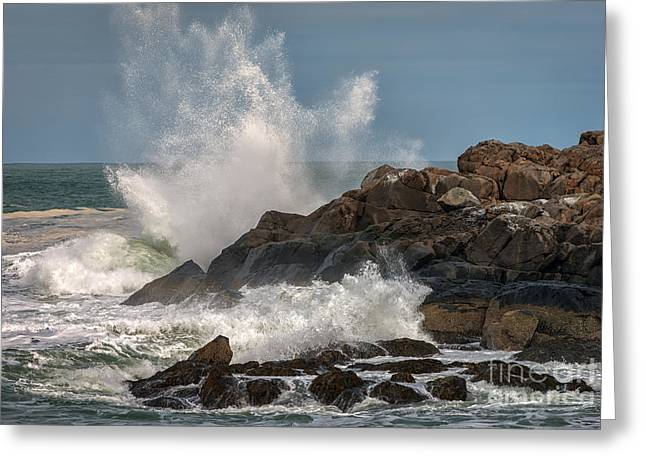 Nubble Lighthouse Waves 1 Greeting Card by Scott Thorp
