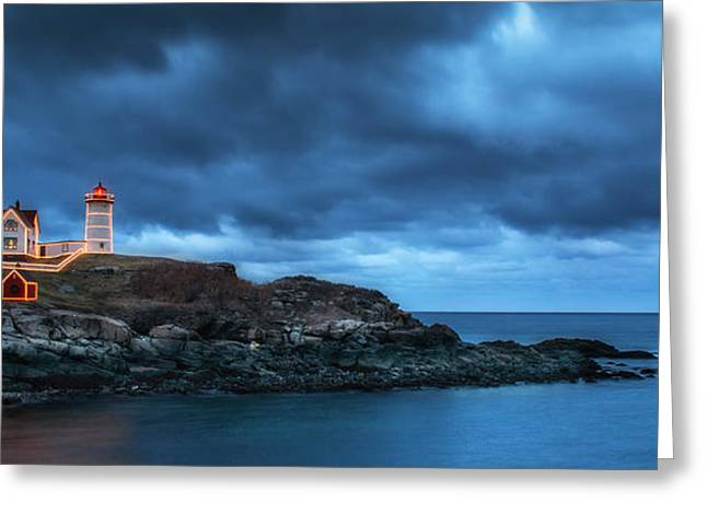 Nubble Lighthouse Before The Storm Greeting Card by Scott Thorp